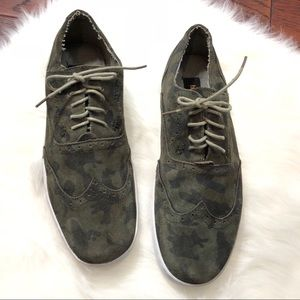 Bed Stu Camo Green Suede Oxford Style Sneakers